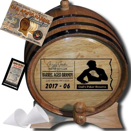 Dad's Poker Reserve (077) - Personalized Aging Barrel From Skeeter's Reserve Outlaw Gear™ - MADE BY American Oak Barrel™ - (Natural Oak, Black Hoops)