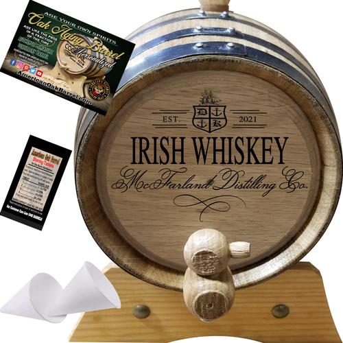Your Irish Whiskey Distilling Co. (405) - Personalized American Oak Irish Whiskey Aging Barrel