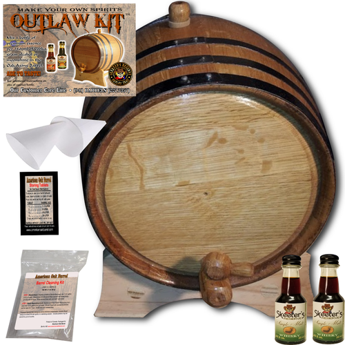 Barrel Aged Whiskey Making Kit - Create Your Own Single Malt Whisky - The Outlaw Kit™ from Skeeter's Reserve Outlaw Gear™ - MADE BY American Oak Barrel™