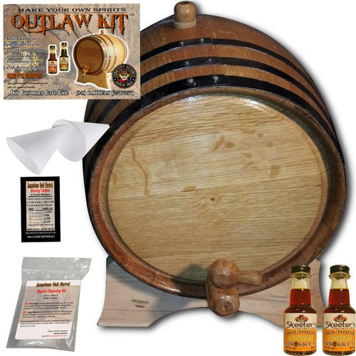 Barrel Aged Whiskey Making Kit - Create Your Own Honey Bourbon Whiskey - The Outlaw Kit™ from Skeeter's Reserve Outlaw Gear™ - MADE BY American Oak Barrel™