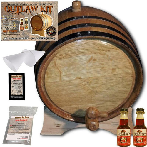 Barrel Aged Whiskey Making Kit - Create Your Own Cherry Bourbon Whiskey - The Outlaw Kit™ from Skeeter's Reserve Outlaw Gear™ - MADE BY American Oak Barrel™