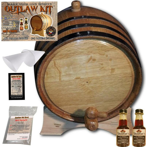Barrel Aged Whiskey Making Kit - Create Your Own Tennessee Bourbon Whiskey - The Outlaw Kit™ from Skeeter's Reserve Outlaw Gear™ - MADE BY American Oak Barrel™