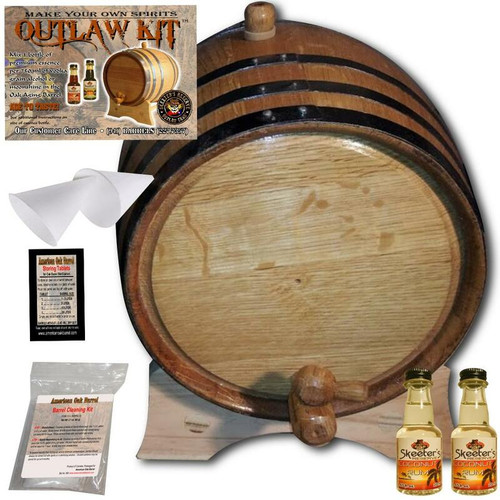 Barrel Aged Rum Making Kit - Create Your Own Coconut Rum - The Outlaw Kit™ from Skeeter's Reserve Outlaw Gear™ - MADE BY American Oak Barrel™