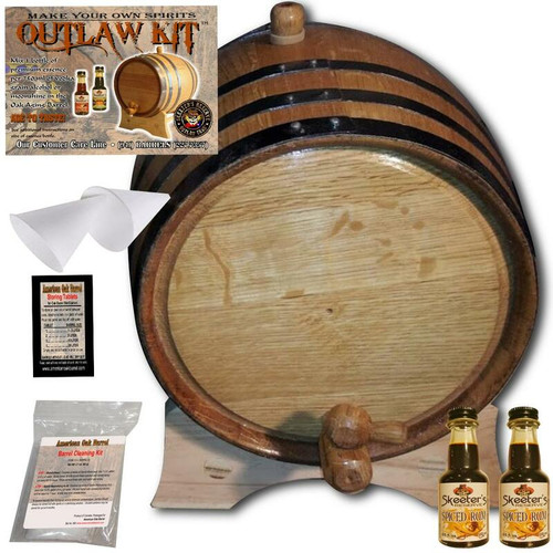 Barrel Aged Rum Making Kit - Create Your Own Spiced Rum - The Outlaw Kit™ from Skeeter's Reserve Outlaw Gear™ - MADE BY American Oak Barrel™