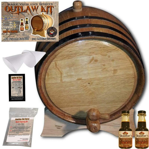 Barrel Aged Cognac Making Kit - Create Your Own XO Brandy - The Outlaw Kit™ from Skeeter's Reserve Outlaw Gear™ - MADE BY American Oak Barrel™
