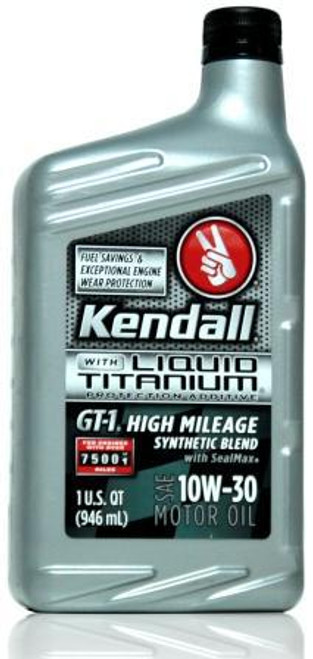 Kendall GT-1 High Mileage Synthetic Blend 10w-30 | 12/1 Quart Case