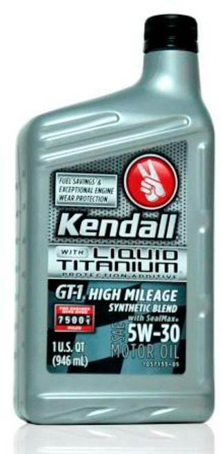 Kendall GT-1 High Mileage Synthetic Blend 5w-30 | 12/1 Quart Case