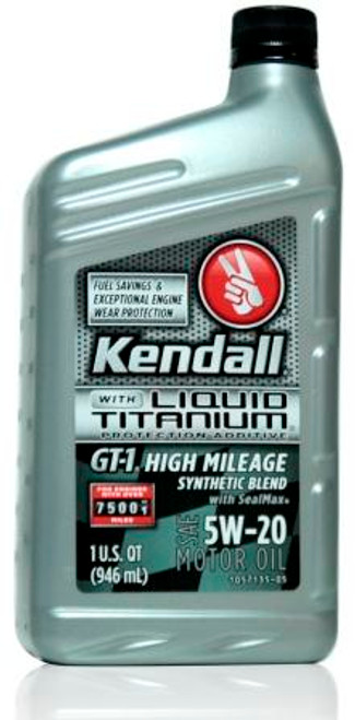 Kendall GT-1 High Mileage Synthetic Blend 5w-20 | 12/1qt Case
