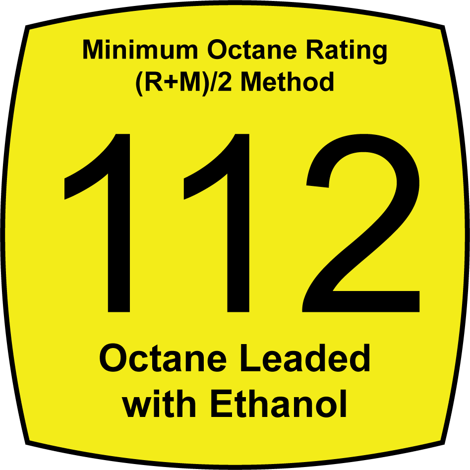 Leaded 112 Octane Fuel with 6.8 Percent Ethanol