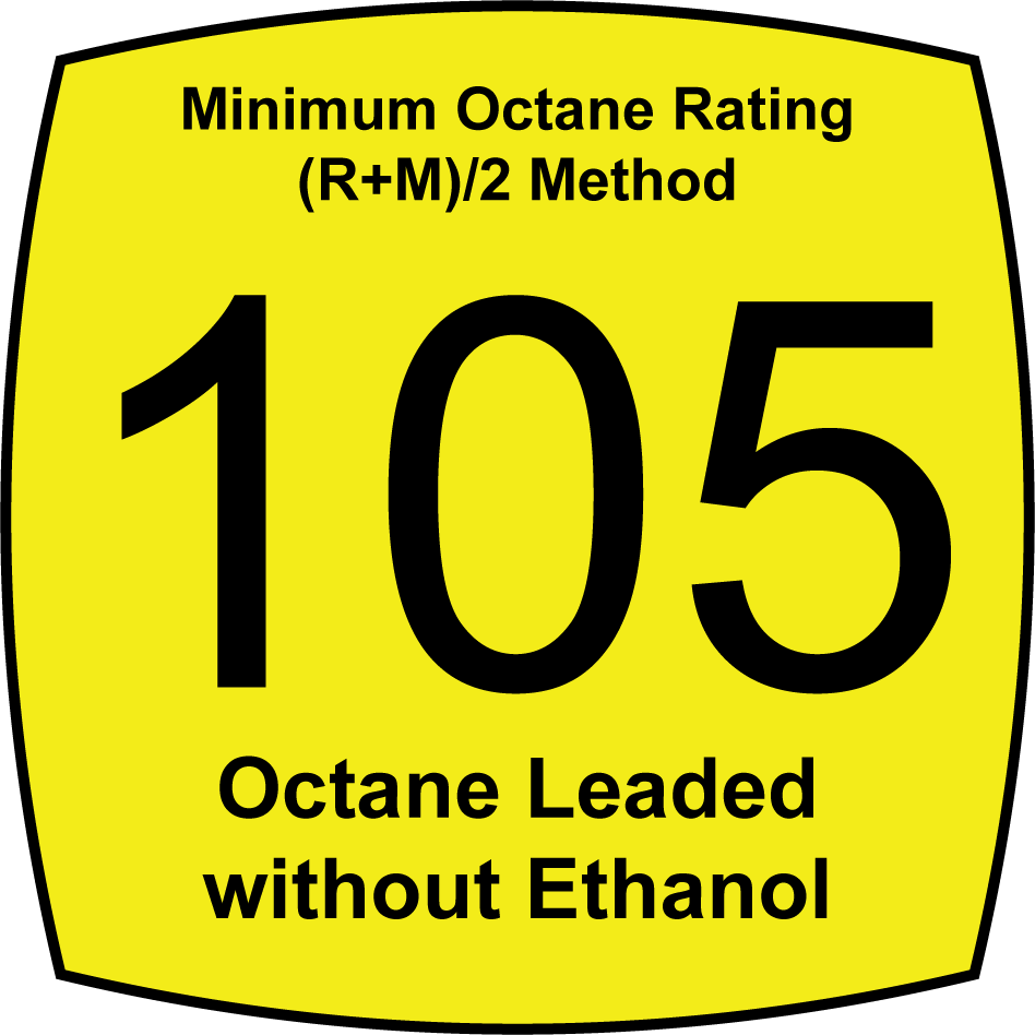Leaded 105 Octane Fuel without Ethanol