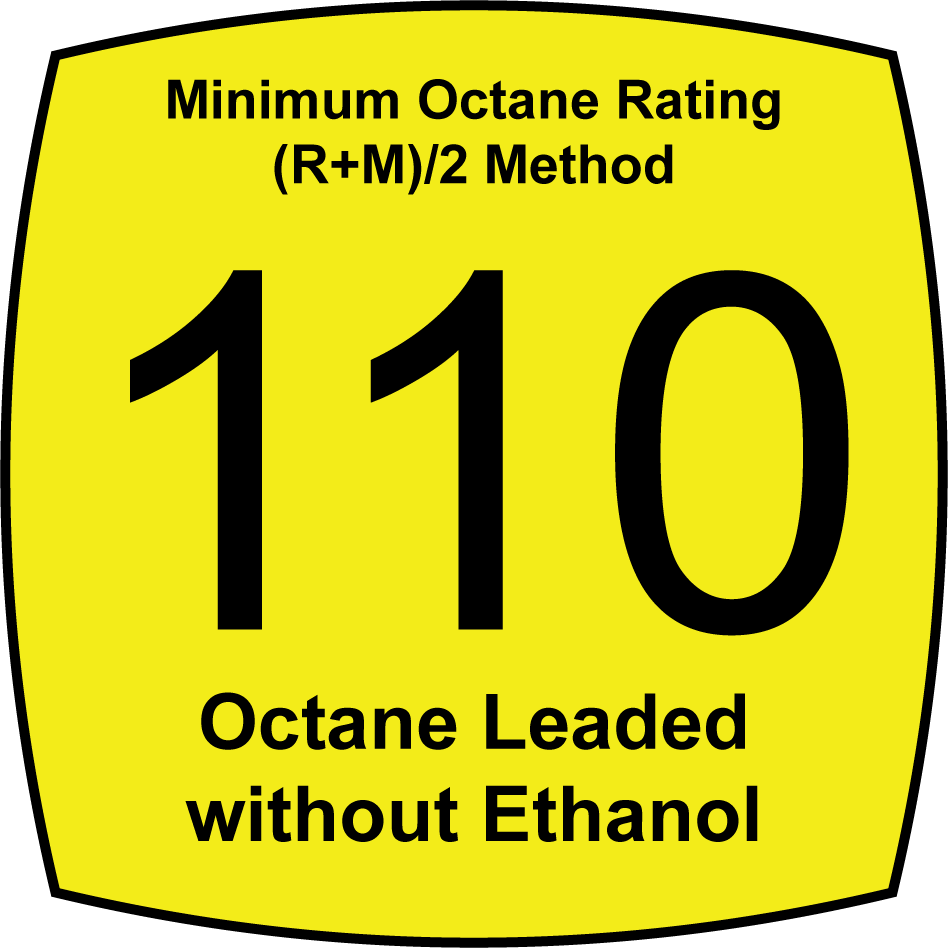 Leaded 110 Octane Fuel without Ethanol