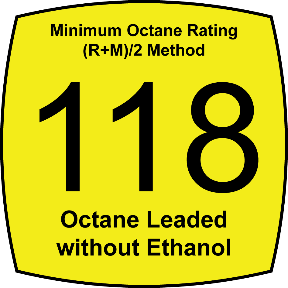 Leaded 118 Octane Fuel without Ethanol