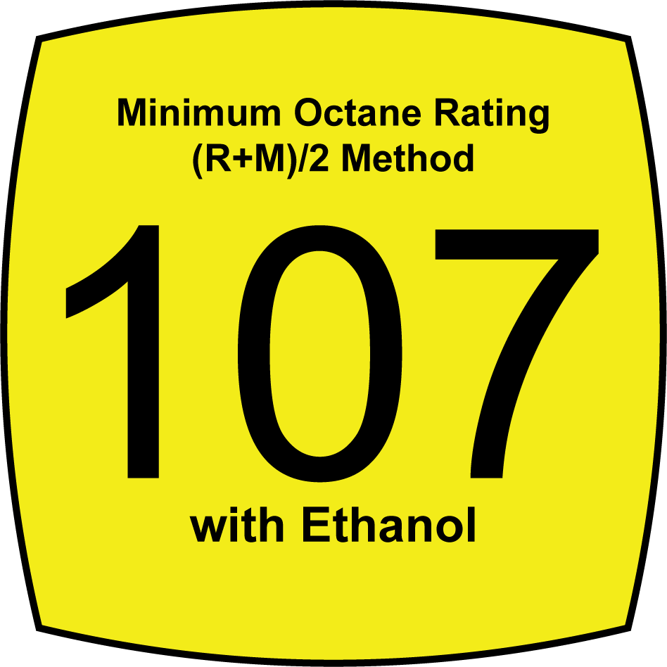 Leaded 107 Octane Fuel with 25 percent Ethanol