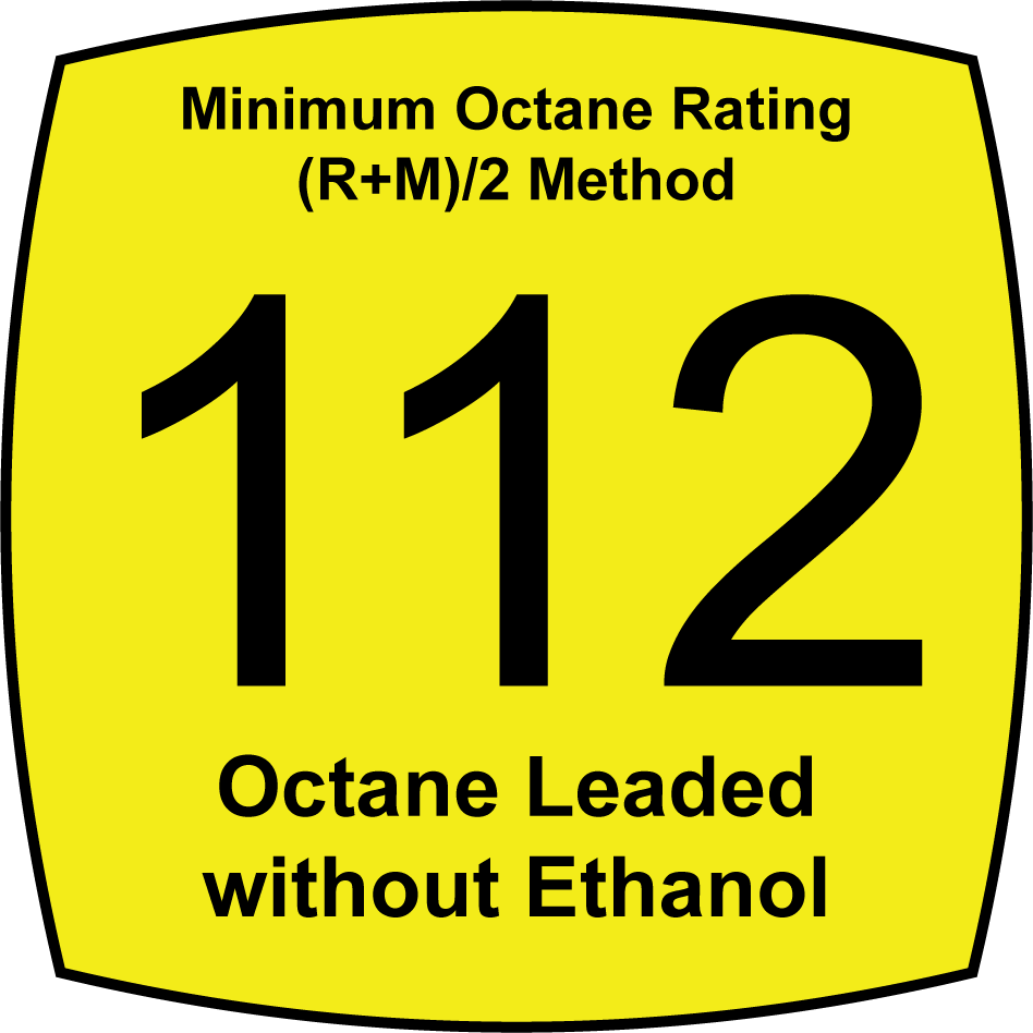 Leaded 112 Octane Fuel without Ethanol