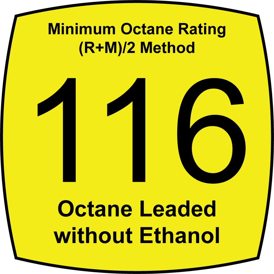 Leaded 116 Octane Fuel without Ethanol