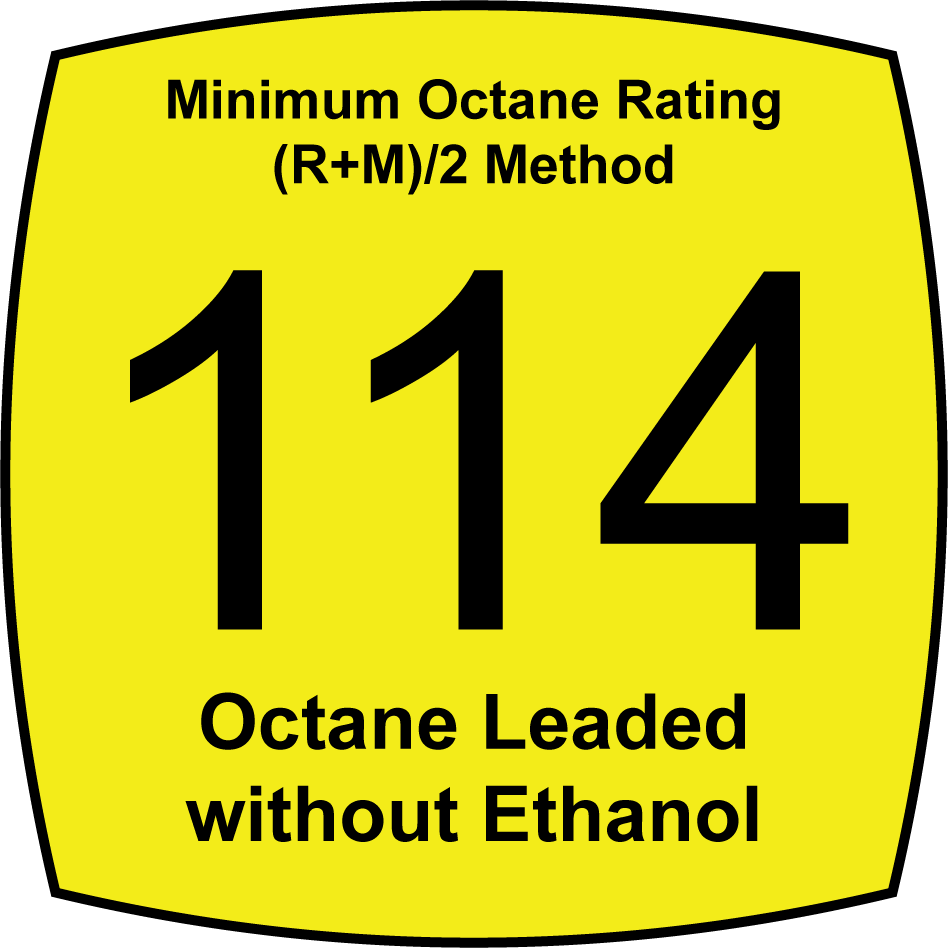 Leaded 114 Octane Fuel without Ethanol