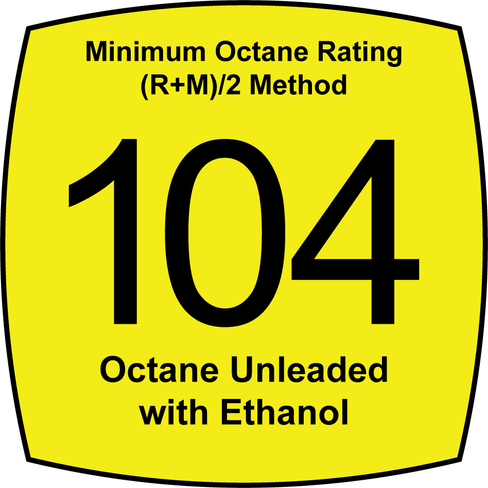 Unleaded 104 Octane Fuel with Ethanol