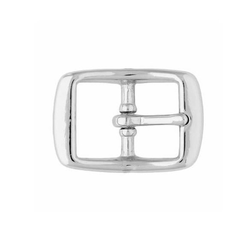 "Chrome Center Bar Buckle 3/4"" Chrome over Brass"