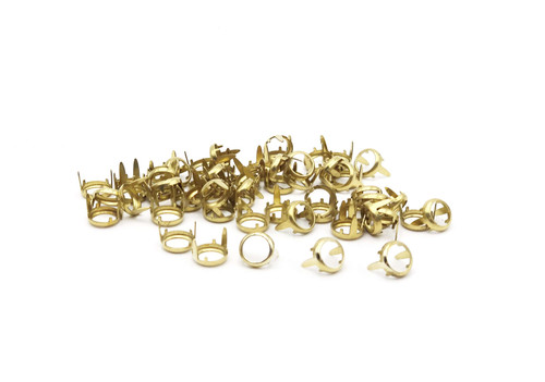 Rim Sets, Solid Brass Ring Spot For Crystals, Gemstones,  Flat Back Prong Setting, SS20, SS34, SS40, Quantity 50