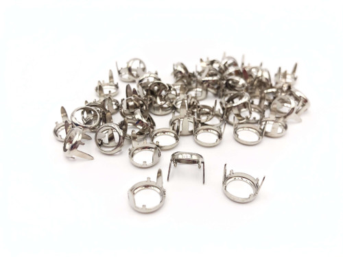Silver Rim Sets, Use with SS40, SS34, SS20  Rhinestones,   Flat Back Prong Setting,  Nickel Over Solid Brass