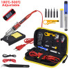 JCD Soldering iron kit adjustable temperature 220V 80W LCD solder welding tools Ceramic heater soldering tips Desoldering Pump|Electric Soldering Irons
