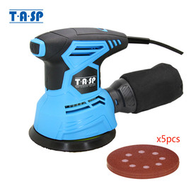 TASP 300W Random Orbital Electric Sander Machine Variable Speed Sanding Tools with Hybrid Dust Canister & 5pcs 125mm Sandpapers|Sanders|
