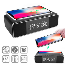 5 In 1 Wireless Charging Dock Station LED Electric Alarm Clock Thermometer Bluetooth Speaker FM Radio For Iphone Huawei Samsung|Home Automation Modules|