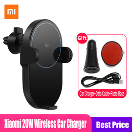 Xiaomi Mi 20W Max Qi Wireless Car Charger WCJ02ZM Auto Pinch with Intelligent Infrared Sensor Fast Charging Car Phone Holder|Wireless Chargers