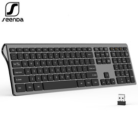 SeenDa Thin 2.4G Wireless Keyboard for Laptop Desktop Scissors Switch Keyboard for Windows Mac OS Full Size 109 Keys Keyboard|Keyboards