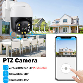 5MP HD IP Dome Camera Outdoor PTZ Home Security CCTV Camera WiFi 2 way Audio Auto Tracking Onvif Surveillance H.264 Network|Surveillance Cameras