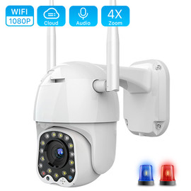 Cloud 1080P Wifi PTZ Camera Outdoor 2MP Auto Tracking CCTV Home Security IP Camera 4X Digital Zoom Speed Dome Camera Siren Light|Surveillance Cameras