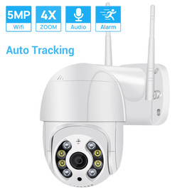 5MP Mini PTZ Wifi Camera H.265 Auto Tracking ONVIF Wireless IP Camera 4xDigital Zoom AI Human Detection Dual Light Source ICSEE|Surveillance Cameras