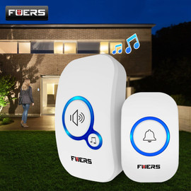 Fuers Wireless Doorbell Welcome bell Home Chime Door bell Alarm 32 Songs Smart Doorbell EU Plug doorbell ring Waterproof Button|Doorbell