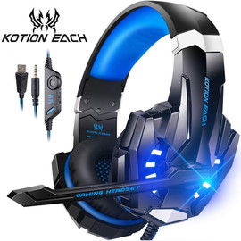 KOTION EACH Gaming Headset Casque Deep Bass Stereo Game Headphone with Microphone LED Light for PS4 Phone Laptop PC Gamer Phone Earphones & Headphones