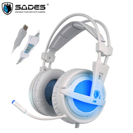SADES USB 7.1 Stereo wired gaming headphones game headset over ear with mic Voice control for laptop computer gamer Phone Earphones & Headphones