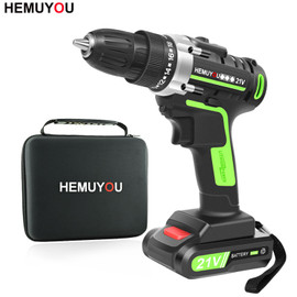 21V Screwdriver cordless Electric Drill Mini Wireless Power Drill Lithium Ion Battery Screwdriver Power Tools 3/8 In Chuck|Electric Drills
