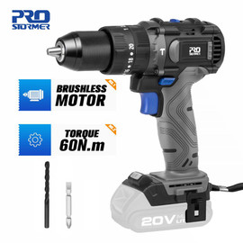Brushless Hammer Drill 60NM Impact Electric Screwdriver 3 Function 20V Steel / Wood / Masonry Tool Bare Tool By PROSTORMER|Electric Drills