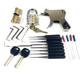 New Locksmith Tools,Lock Gun with Transparent Practice Locks Broken Key Extractor Pick Tool ,Great Lock Pick Practice Set|Door Locks