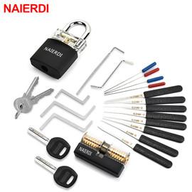 NAIERDI Locksmith Supplies Hand Tools with Practice Lock Pick Set Tension Wrench Broken Key Tool Combination Padlock Hardware|Locksmith Supplies