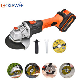 GOXAWEE Electric Cordless Angle Grinder 20V Rechargeable Lithium Battery 4000mAh Grinding Machine Power Tools For Cutting Metal|Grinders