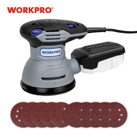 WORKPRO 300W Random Sander with Variable Speed Random Orbit Sander with 10PC sandpaper Dust exhaust and Hybrid dust canister|Sanders