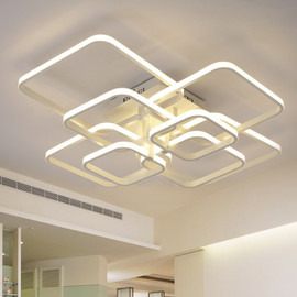 New led Chandelier Lights For Living Room Dining Kitchen Bedroom Home Modern Rectangle Ceiling Lamp Lighting Fixtures|Chandeliers