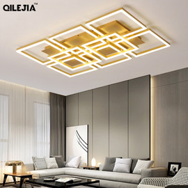 Modern LED chandelier lamps for the living room Home golden color lamps for the bedroom with remote control dimming dining room|Chandeliers