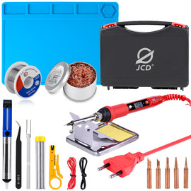 JCD soldering iron Plastic box set temperature adjustable 220V 80W Welding rework tools kit with ESD Heat Insulation Working Mat|Electric Soldering Irons