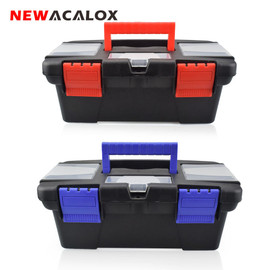 """NEWACALOX 10"""" Tool Box with Handle Compartment Storage Organizers Toolbox for Hardware Tool Soldering Iron Accessories Toolcase Tool Boxes"""