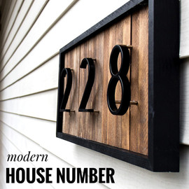 125mm Floating House Number Letters Big Modern Door Alphabet Home Outdoor 5 in.Black Numbers Address Plaque Dash Slash Sign #0 9|Door Plates