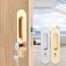 Sliding Door Lock Handle Anti theft with Keys For Barn Wood Furniture Hardware Door Latch Lock for Double Doors Cerradura|Door Locks