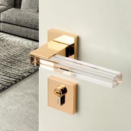 1Set Crystal Texture/Mute Room Door Lock Handle Fashion Interior Door Lock Anti theft Gate Lock Furniture Hardware GF181|Door Locks