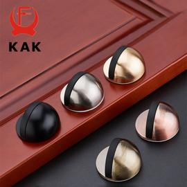 KAK Zinc Alloy Rubber Door Stopper Black Gold Nail free Sticker Hidden Door Holder Catch Floor Mounted Door Stop Door Hardware|Door Stops