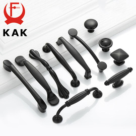 KAK American Style Black Cabinet Handles Solid Aluminum Alloy Kitchen Cupboard Pulls Drawer Knobs Furniture Handle Hardware|Cabinet Pulls